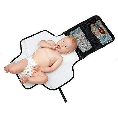 Kid Transit Cambiador de viaje con bolsillos. Portátil, pequeño, ligero y compacto. Para guardar toallitas de bebé, pañales, bolsas, crema Sudocrem: ...