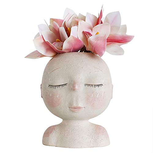 6.7 Cute Fun Plastic Head Shaped Face Planter Indoor Decorative Plant Pots Flower Vases Women Birthday Gifts NBHUZEHUA