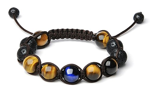 Bella.Vida Mens 12mm Natural Lava Stones and Hawk's Eye Bead Handmade Adjustable Braided (Luck Stone)