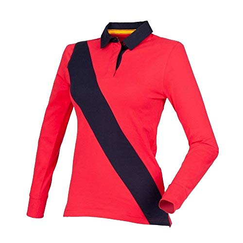 Front Row Womens/Ladies Diagonal Stripe House Rugby Polo Shirt (M) (Red/Navy/Navy)