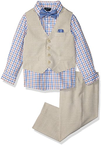 Nautica Baby Boys Set with Vest, Pant, Shirt, and Bow Tie, Khaki Linen, 6-9 Months