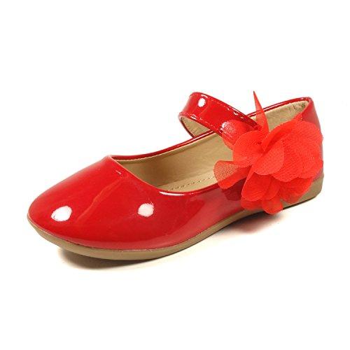Nova Utopia Toddler Little Girls Flower Girl Dress Ballet Mary Jane Bow Flat Shoes,NF Utopia Girl NFGF061New Red 12 ()