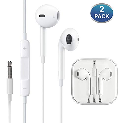 Aux Headphones/Earphones/Earbuds,[2 Pack] Lampari 3.5mm Wired Headphones Noise Isolating Earphones Built-in Microphone & Volume Control Compatible iPhone 6S/6/5/SE iPod iPad Samsung/Android / MP3 MP4