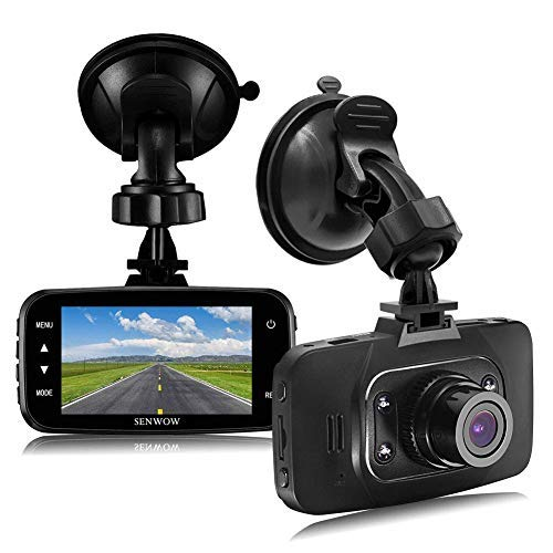 "SENWOW Dash Cam 1080P Full HD Car Camera 2.7"" LCD Driving Video 3-Lane Wide Angle 4 IR LED Dashboard DVR Built in G-Sensor, Loop Recording, Night Vision, Motion Detection, WDR, ABS, GS8000 no Card"