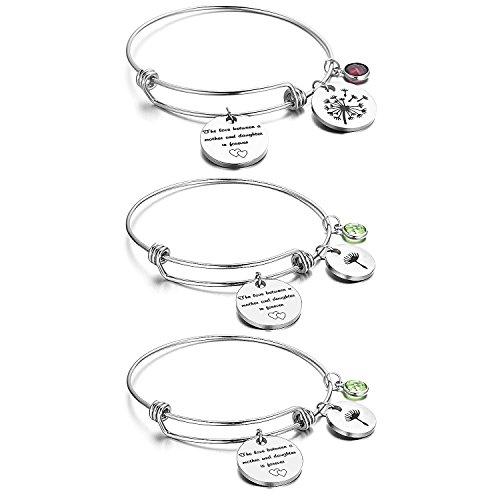 NBE Collection Mother Daughter Bracelet, 3 Bracelet Set of Matching Dandelion Mother Daughter Bangle Charm Bracelets, Jewelry Gift Set for Mom or Daughter (Mother daughter bracelet)
