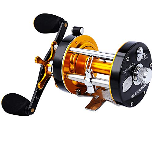 Sougayilang Fishing reels Round Baitcasting Reel - Conventional Reel - Reinforced Metal Body & Supreme Star Drag-Right Hand-Golden-Black-Warrior 4000