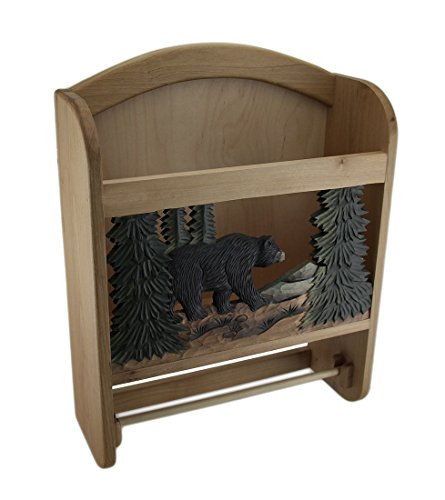 Wood Paper Towel Holders Bear In The Woods Hand Crafted Wooden Paper And Towel Holder W/Storage 12.75 X 16.5 X 4.75 Inches Brown Model # MS501 by Zeckos