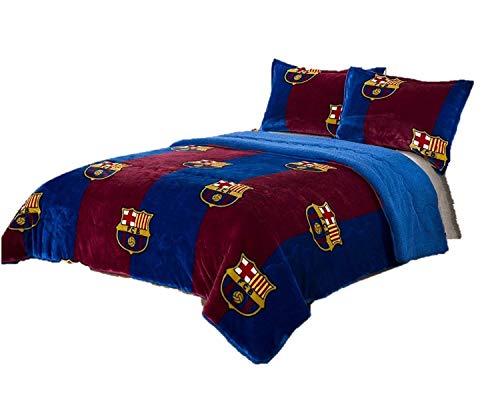 FCBarcelona 3pcs Sherpa Set Queen Size, Blanket Set with 2 pillow shams ()