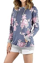 Women's Casual Floral Printed Long Sleeve Hoodie Pullover Sweatshirts