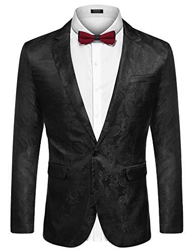 Blazer Black Jacket Silk (COOFANDY Men's Lightweight Paisley Slim Fit Stylish Blazer Jacket One Button Floral Tuxedo Jacket Black)
