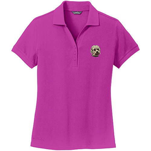 Cherrybrook Dog Breed Embroidered Womens Polo Shirts - XXX-Large - Magenta - Dandie Dinmont Terrier