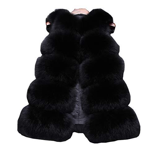 DorkasDE Bodywarmer van imitatiebont, mouwloos vest voor dames, warm winterjack,bontjack