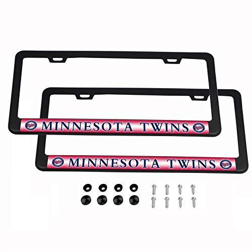2PCS MLB Lightweight License Plate Frames Black Matte Powder Coated Aluminum - Minnesota Twins