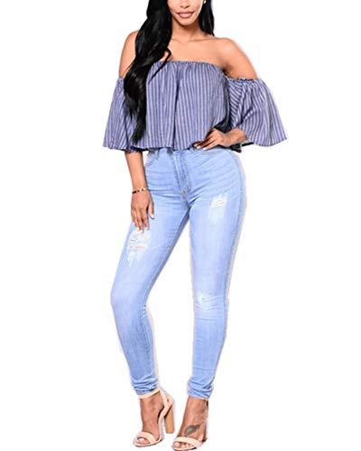 Fit Strappati Di Grandi Jeans Slim Alta Jean Denim Dimensioni Vita Blu Elasticità Donna Morbido Scuro Skinny In Lunghi Pantaloni CW5qw1BO8