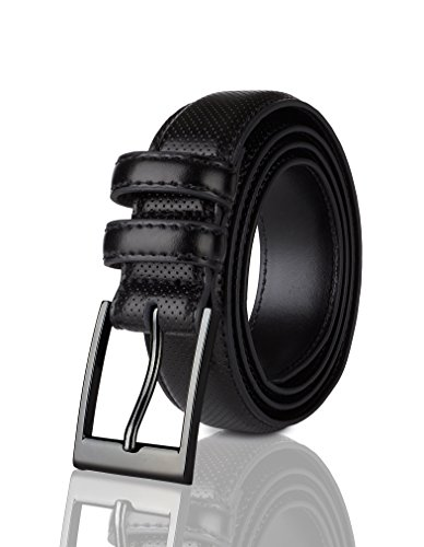 Sportoli Men's Classic Stitched Genuine Leather Uniform Dress Buckle Belt - Black Perforated - Size 48 (Waist (Black Leather Edge Stitched Belt)