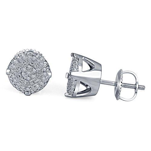 lilu Jewels superbe platinumplated Blanc pour Femme Boucles d'oreille à tige de forme ronde en argent sterling 925avec Diamant coupe ronde