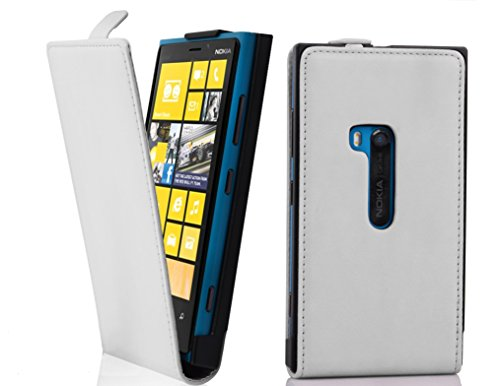Cadorabo - Funda Flip Style para Nokia Lumia 920 de Cuero Sintético Liso - Etui Case Cover Carcasa Caja Protección en AZUL-BRILLANTE BLANCO-POLAR