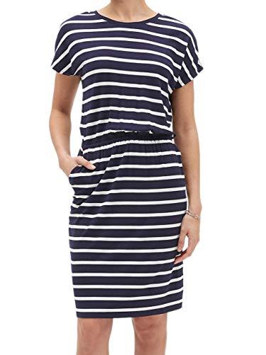 Banana Republic Womens Rayon Blend Cap Sleeve T-Shirt Shift Dress Navy Blue Striped (Medium)