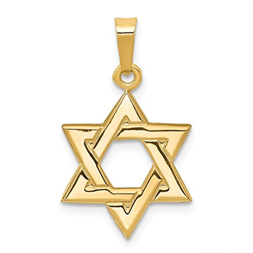 Amazon Black Friday Jewelry Deals 2018-14k Yellow Gold Jewish Jewelry Star Of David Pendant Charm Necklace Religious Judaica Fine Jewelry For Women Gift Set - Yellow Gold Large Chai Pendant