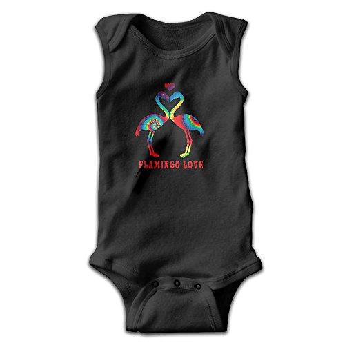 Flamingo Love. Hippie Style Unisex Baby 100% Cotton Sleeveless Lap Shoulder Bodysuits Newborn