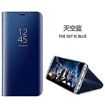 hyujia Compatible para Samsung Galaxy A70 Carcasa 2019/Funda Inteligente Fecha/Hora Ver Espejo tirón del Caso Soporte Plegable/Duro Shell Teléfono ...