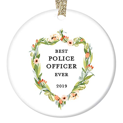 """Police Officer Gifts, Policewoman Christmas Ornament 2019, Best Female Cop Ever Favorite Woman American Law Enforcement Ceramic Present Keepsake 3"""" Flat Porcelain with Gold Ribbon & Free Gift Box"""