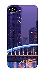 Fashion Tpu Case For Iphone 5/5s- Japan Tokyo Exposer Rivers Water Reflection Bridges Architecture Buildings Skyscrapers Night Lights Defender Case Cover For Lovers