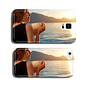 Young woman drinking coffee on the pier at sunrise cell phone cover case Samsung S6