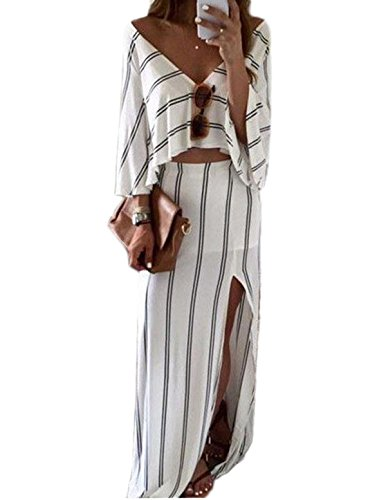 EkarLam Womens Casual Stripe V Neck Half Sleeve Split Crop Top Shirt Skirt 2 Pieces Set white Tag M