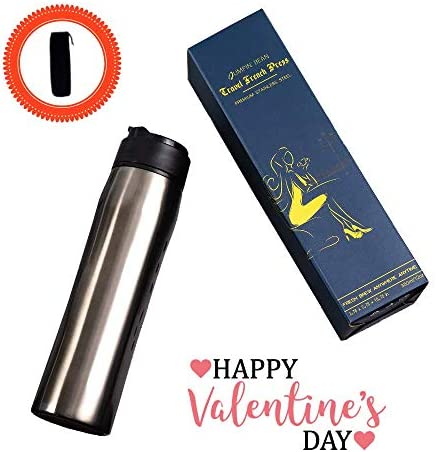 Travel French Press Coffee Maker Portable Coffee Press Travel Coffee Tumbler Iced Coffee Tea Maker Vacuum Insulated Premium Stainless Steel BPA Free Durable Easy-Cleaning 12oz 350ml
