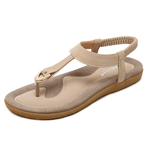 Dear Time Slingback T-Strap Flip Flop Women Ankle Strap Thong Sandals Beige US 7.5