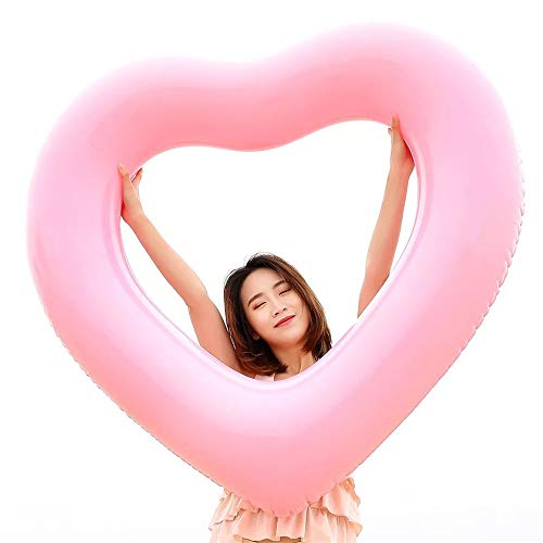 Wodiy Inflatable Swim Rings for Kids or Adults, Heart Shape Pool Float Beach Lounger,Float Raft,Size -