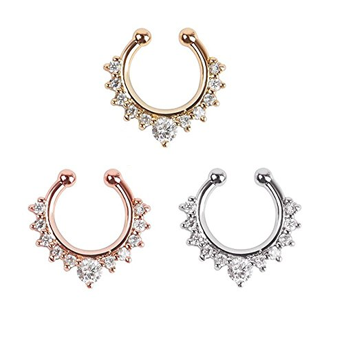 Display Ring Nose (AISHNE Septum Clicker Nose Ring Non Piercing Hanger Clip On Jewelry 3Pcs)