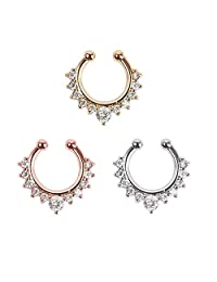 BODYA 1-3pcs fake nose ring jewelry cz Crystal septum Piercing clicker faux clip non pierced Body Hoop ring For Women Silver rose gold