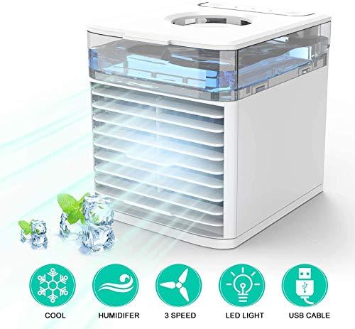 🥇 MILIER Portatil Enfriador de Aire NEXFAN Air Cooler con Luz LED de Colores Enfriador Evaporativo para el Hogar