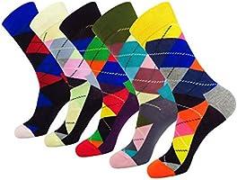 WEILAI SOCKS 5 Pack Mens Cool Colorful Funky Design Cotton Comfort Dress Crew Socks