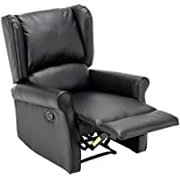 BONZY Leather Recliner Wingback Roll Arm Manual Recliner Chair - Black