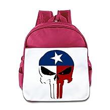 Texas Flag Punisher Skull Toddler Children School Bag Pink