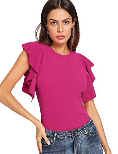 - Romwe Women's Stretchy Flutter Sleeve Slim Solid Elegant Blouse Top Rose Red L
