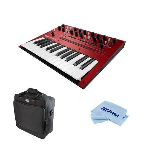 Korg Monologue 25-Key Monophonic Analog Synthesizer with 80 Presets, Red - Bundle Gator Cases Updated Padded Nylon Mixer/Equipment Bag, Microfiber Cloth