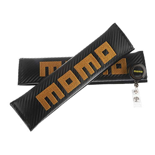 (Clavel Autopartes 2pcs Car Seat Belts Covers Padding Carbon Fiber Leather Belt Shoulder Sleeve + 1pc Retractable Badge Reel with Metal Belt Clip (MOMO)