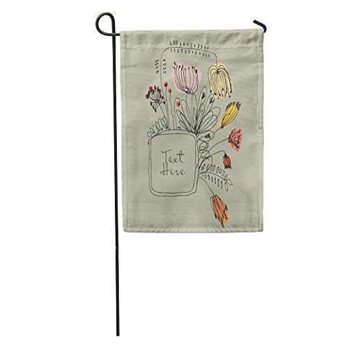 Semtomn Garden Flag Drawn Autumn Vintage Country Flowers and Berries Border Line Leaf Home Yard House Decor Barnner Outdoor Stand 28x40 Inches Flag