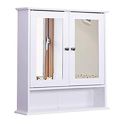 kleankin Bathroom Storage Cabinet Wall Mounted Medicine Cabinets w/Double Mirror Doors & Adjustable Shelf White