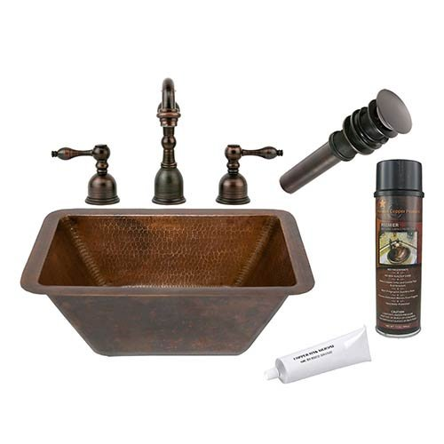 Exceptionnel Premier Copper Products BSP2_LRECDB Rectangle Hammered Copper Sink With  Widespread Faucet, Oil Rubbed Bronze   Vessel Sinks   Amazon.com