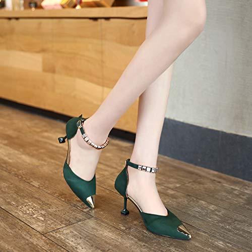 Femmes Vert Élégant Mode Bout Plates Ouvert Simple Sexy Ihengh Chaussures D'été Romain Fille À À Vintage Femmes Nouveau Chaussures 2019 Hauts Talons Boucle Femmes Sandales Dame Casual 4xgvfx6w8