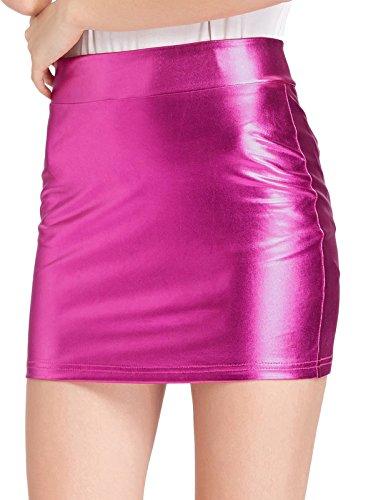 Kate Kasin Women Hips-Wrapped Sexy Shiny Skirt Metallic Styles Deep Pink M KK858-2