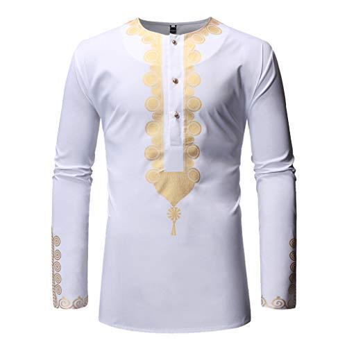 - Fashuion!! SFE Men Summer Shirts,Men's Autumn Winter Luxury African Print Long Sleeve Dashiki Shirt Top Blouse White