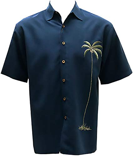 Bamboo Cay Men's Single Palm Embroidered Casual Hawaiian Button Down Shirt (Small, Navy)