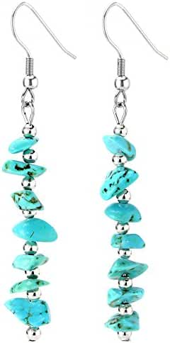Birthday Stone Chip Crystal Gemstones Semi Precious Beaded Dangle Earrings, Long with Fish Hook, Hypoallergenic