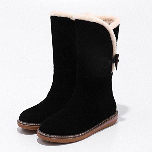 RAZAMAZA Women Boots Pull On Warm Lined Black VraOWbJ